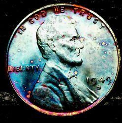 1949 S Lincoln Wheat Penny Cent- Beautiful Toning Superb Gem High Grade 03