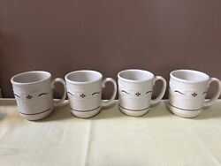 Longaberger Pottery Woven Traditions Traditional Red Mugs - Set Of 4 New