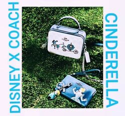 Disney X Coach Box Crossbody With Cinderella In The Carriage Comes W/ Wristlet