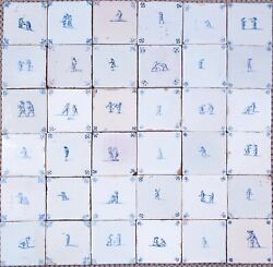 Nice Field Of 36 Dutch Delft Blue Tiles Childand039s Play 17th And 18th Century.