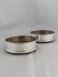 Pair Of Wooden Based Silver Wine Coasters 1983 London M C Hersey Sterling Silver