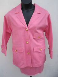 Denim Oversized Jacket Skirt Suit Pink French Cuff Sz 36 90and039s