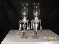 Pair Of Antique American Crystal Electric Hurricane Etched Glass Table Lamps
