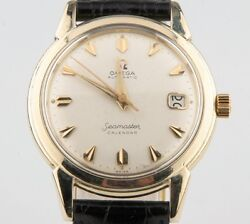 Vintage Omega Andomega Menand039s Seamaster Calendar Automatic 14k Gold Filled Watch W/ Date