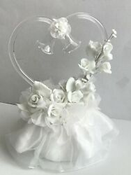 White Porcelain Roses And Glass Heart And Bells Cake Top