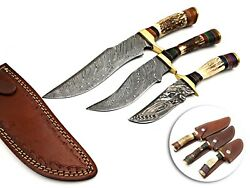 Best Handmade Damascus Hunting Knives With Stag Handle Set Of 3 Pieces