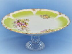 Vintage Antique Porcelain Glass Footed Compote Cake Stand
