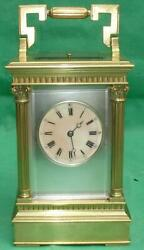 Gay Vicarino French Antique Striking Repeater Masked Dial Carriage Clock