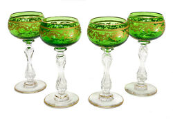 4 Saint St Louis France Green Crystal Glass And Gilt Wine Goblets In Beethoven