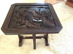 Vintage 50's Chinese Hand Carved Table W/folding Legscollapsable Top24 X 24