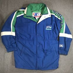 Vintage Starter Seattle Seahawks Color Block Spell Out Down Coat Parka Size Xl