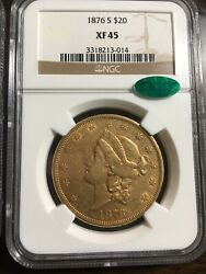 1876-s Us Gold 20 Liberty Double Eagle - Ngc Xf45 - Cac Approved