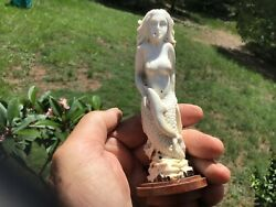 Hand Carved Mermaid With Dolphin Figurine In Antler