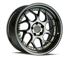 Set4 Aodhan Staggered Ds01 19x9.5/10.5 5x114.3 +15/22 Black Vacuum Gold Rivets