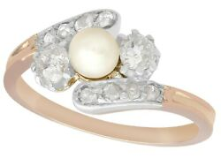 Antique Pearl And 0.51 Ct Diamond 18k Rose Gold Twist Ring 1910s Size 6.5