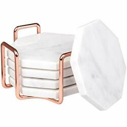 White Carrara Marble Coasters With Rose Gold Holder- Set Of 5