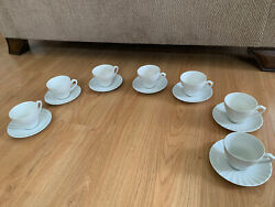 7 Sets - Tea Cups And Saucers - Jandg Meakin England Classic White