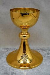 + Nice Older Knights Of Columbus Chalice, Cup Sterling + 7 3/8 Ht. Cu237
