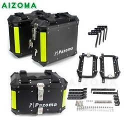 Motorcycle Top Case And Side Boxes Set Trunk Rear Luggage Carrier Cases W/ Bracket