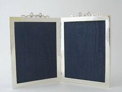 Antique Edwardian Sterling Silver Double Photograph Frame - 1904 By J.c. Vickery