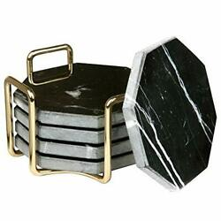 Black Marble Coasters With Gold Holder- Set Of 5