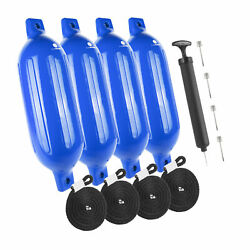 Inflatable Ribbed Blue Boat Fender 4x16 Inches 4 Pack Five Oceans Fo-4539