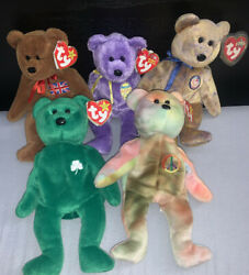 Rare Beanie Baby Bundle. Erin 1997 W/ All Errors Peace 1996 With Errors And More