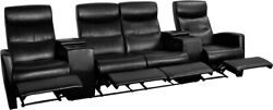 Anetos Series 4-seat Black Leather Theater Reclining Seating Unit With Holders