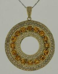4.71ct White And Mocha Diamond And Aaa Citrine 14kt Yellow Gold Fun Floating Pendant