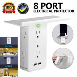 Multi-function Wall Plug Socket With Shelf Surge Protector 6 Outlet 2 Usb Ports