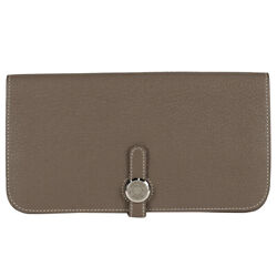 Hermes Dogon Long Bill Compartment Coin Pocket Bifold Long Wallet Togo Etope...