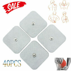 40pcs Snap On Replace Electrode Pads For Tens Unit Self Adhesive Stud 2x2 New