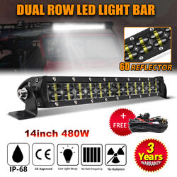 14inch Led Light Bar 480w Flood Spot Offroad 13'' Driving For Jeep 4wd Boat Atv