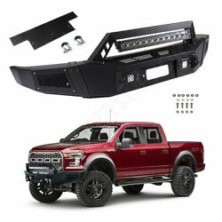 Black Complete Front Bumper Guard For Ford F 150 09-11 Steel+led Lights+winch