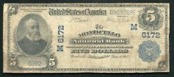 1902 5 Monticello National Bank Of Monticello In National Currency Ch. 6172