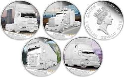 Tuvalu 2010 4 X 1 Kings Of The Road Perth Mint Silver Proof 4 Coin Set Trucks