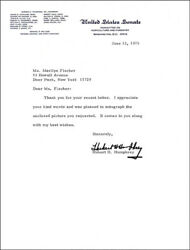 Hubert H. Humphrey - Typed Letter Signed 06/13/1975