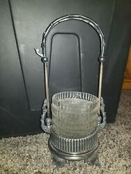 Vintage Coaster Caddy With 4 Glass Coasters Very Ornate Details