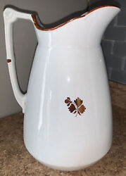 Antique Wedgwood Copper Tea Leaf Pat Ironstone Pitcher Only