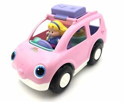 2009 Fisher Price Little People Pink And Purple Suv With Two Figures