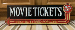 Movie Tickets Popcorn Cinema Theater Now Showing Reels Home Wall Decor Dvd