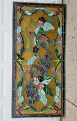 Antique 1920and039s Leaded Stained Glass Peacocks Door Window Panel 72 X 32