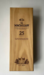 The Macallan 25 Year Scotch Whiskey Collectible Wooden Gift Box Only