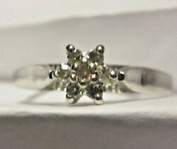 10k White Gold Ring With 7 Solitaire Accent Diamonds Size 7 Weight 1.4g Stamp