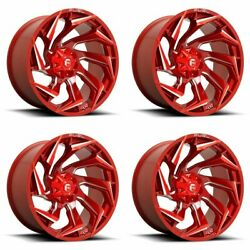 4x Fuel 22x12 D754 Reaction Wheels Candy Red Milled 8x170 -44mm Offset 4.77bs