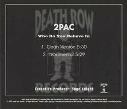 2pac Who Do You Believe In Promo Music Audio Cd Tupac Suge Knight Clean Instrum