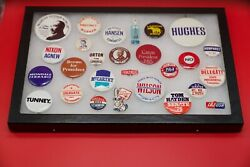 Collection Of Vintage Political Campaign Buttons In Display Case W Glass Cover