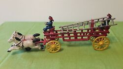 Vintage Cast Iron Fire Engine Wagon Firemen And Ladders Two Horse Drawn Carriage