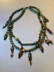 Rare Vintage Antique Chinese Tibetian Jade Carnelian 2 Strand Charm Necklace