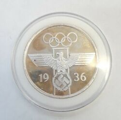 Silver 1 Oz 999 Rare 1936 Souvenir For Meritorious Work At The Olympic Games